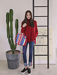 2017 spring models waist jeans female trousers Slim was thin hole stretch pants feet nine points pencil pants
