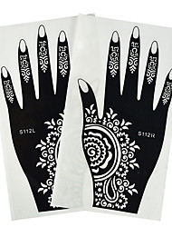 1 Pair Fashion Tattoo Beauty Art Decoration Hollow Hand Template Nail Art Left&Right Hand Tattoo Stickers Beautiful Flower Totem Design S112