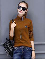 Damen Solide Einfach Lässig/Alltäglich T-shirt,Rollkragen Langarm Baumwolle