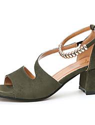 Women's Sandals Summer Comfort PU Outdoor Low Heel Green Black