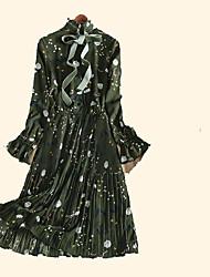 Fun song custom 2017 spring back section! Gradient ribbon temperament elegant retro Pleated Dress