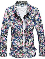 Masculino Camisa Social Casual Praia Simples Activo Verão,Floral Algodão Raiom Colarinho de Camisa Manga Longa Fina