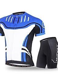 Maillot et Cuissard de Cyclisme Homme Manches Courtes Vélo Ensemble de Vêtements Séchage rapide Résistant aux ultraviolets Respirable
