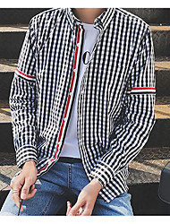 Men's Casual/Daily Simple Shirt,Check Stand Long Sleeve Cotton