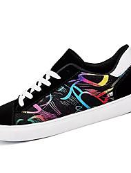 Черно-белый Черный/Красный Цвет экрана-Для мужчин-Повседневный-Полотно-На плоской подошве-Удобная обувь-Спортивная обувь