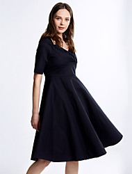 Women's Work A Line Dress,Solid Square Neck Knee-length Short Sleeve Red / Black Wool / Cotton All Seasons