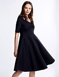 Damen Kleid - A-Linie Retro / Party Solide Knielang Wolle / Baumwolle / Elastisch Quadratischer Ausschnitt