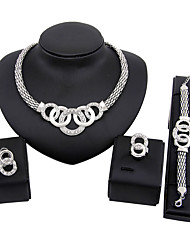 Jewelry Set Bridal Jewelry Sets Euramerican Fashion Simple Style Classic Rhinestone Silver Plated Zinc Alloy Circle Silver1 Necklace 1