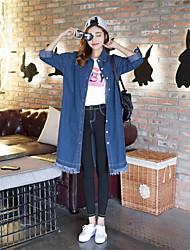 Feminino Jaqueta jeans Para Noite Casual Férias Simples Moda de Rua Outono,Sólido Padrão Others Colarinho Chinês Manga Longa