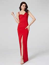 TS Couture Formal Evening Dress - Furcal Celebrity Style Sheath / Column Straps Floor-length Satin with Draping Split Front Ruching
