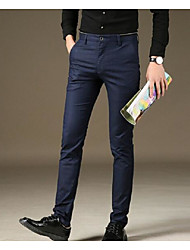 Men's Mid Rise Micro-elastic Business Pants,Simple Slim Pure Color Solid