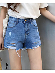 Women's High Rise strenchy Jeans Shorts Pants,Street chic Slim Solid