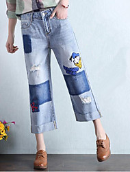 Women's Straight Jeans Pants,Casual/Daily Simple Solid Ripped High Rise Button Polyester Inelastic Spring Fall