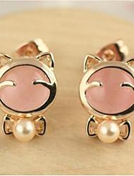 Korean Style Sweet Elegant Temperament Joker Opal Bowknot Pearl Earrings Lady Daily Movie Jewelry