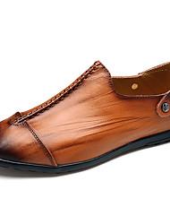 Men's Loafers & Slip-Ons Spring / Summer Comfort Casual Flat Heel Slip-on Black / Red / Brown Walking