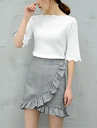 Women's Ruffles and Frills A Line Solid SkirtsGoing out Casual/Daily Simple Street chic Mid Rise Above Knee Zipper PU Micro-elastic Fall Winter