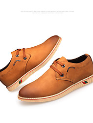 Men's Oxfords Comfort Synthetic Casual Chocolate Black Light Brown Flat
