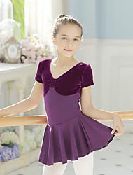 Balé Vestidos Crianças Treino Algodão Elastano 1 Peça Manga Curta