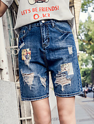 Women's High Rise Inelastic Jeans Shorts Pants,Street chic Simple Wide Leg Solid