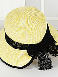Lace Bow Straw Hat Summer Folding Beach Outdoor Tourism Wide Brim Hawaii Folding Soft Sun Hat