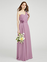 Sheath / Column One Shoulder Sweetheart Floor Length Chiffon Bridesmaid Dress with Draping Flower(s) Criss Cross Ruching byLAN TING