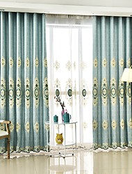 Two Panels European Simple Style High-Grade Embroidery Craft Living Room Bedroom Dining Room Curtain