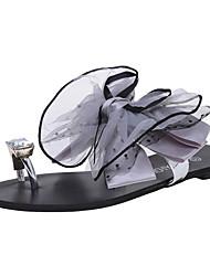 Women's Slippers & Flip-Flops Summer Mary Jane Chiffon Dress Casual Low Heel Rhinestone Bowknot Gray Black Walking