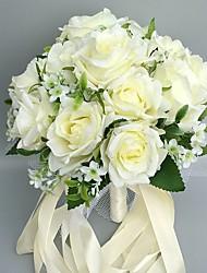 Fleurs de mariage Rond Roses Bouquets Cérémonie de mariage Satin Env.28cm