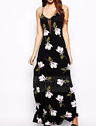 Women's Floral Patterns Going out Casual/Daily Party Sexy Cute Chinoiserie A Line Sheath Dress,Solid Floral Print Strap Maxi SleevelessSilk Cotton