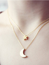 Women's Pendant Necklaces Jewelry Star Moon Alloy Basic Jewelry For Wedding Party Special Occasion Birthday Congratulations Graduation