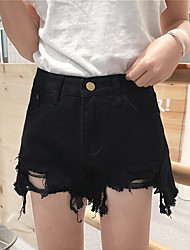 Women's High Rise strenchy Shorts Pants,Street chic Straight Solid