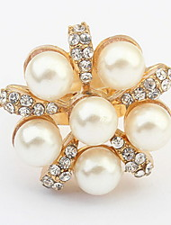 Korean Style Sweet Temperament Pearl Ring personality Rhinestone FlowerRing Women's Cuff Ring JewelryGifts