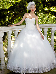 Princess Strapless Floor Length Organza Wedding Dress with Sequin Appliques