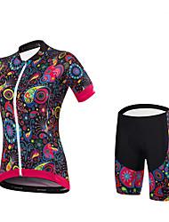Maillot et Cuissard à Bretelles de Cyclisme Femme Manches courtes VéloCuissard / Short Maillot Shorts Rembourrés Maillot +