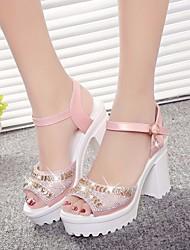 Damen-Sandalen-Lässig-PU-Blockabsatz-Fersenriemen-Weiß Blau Rosa