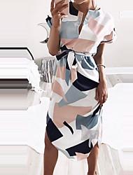 Для женщин На выход На каждый день Праздник Простое Уличный стиль Оболочка Платье Геометрический принт Контрастных цветов,Круглый вырезДо