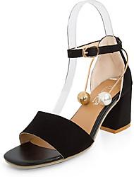 Women's Sandals Comfort PU Summer Casual Walking Comfort Beading Low Heel Black Light Brown 2in-2 3/4in