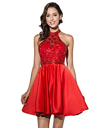 Cocktail Party Dress Ball Gown Halter Short / Mini Satin with Beading