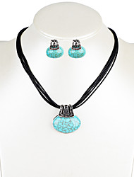 Drop Earrings Necklace Turquoise Crystal Unique Design Dangling Style Euramerican Fashion Bohemian Alloy Oval Crown Necklaces Earrings For