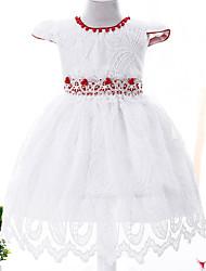 De Baile Longuette Vestido para Meninas das Flores - Renda Cetim Tule Decorado com Bijuteria comLaço(s) Detalhes em Pérolas Babados Faixa