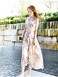 Damen Swing Kleid-Strand Druck Rundhalsausschnitt Maxi Ärmellos Seide Sommer Mittlere Hüfthöhe Mikro-elastisch Dünn