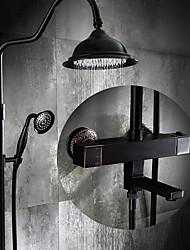 Antique Set de centre Douche pluie with  Soupape céramique Mitigeur deux trous for  Bronze huilé , Robinet de douche