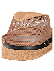Men's Summer  Middle-aged Jazz Cap Sunscreen Linen Belt Buckle Decoration Old Man Straw Hat