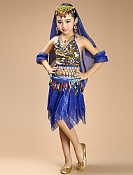 Belly Dance Outfits Kid's Performance Chiffon Spandex Coins Sequins 4 Pieces Sleeveless Children's Dance Costumes Top / Hip Scarf / Skirt / Veil