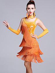 Dança Latina Vestidos Mulheres Actuação Viscose Lantejoulas 5 Peças Sem Mangas Natural Vestido Luvas Calções Neckwear