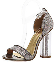 Women's Sandals Summer Club Shoes Fabric Dress Chunky Heel Sequin