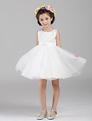 Robe de bal courte / mini robe de fille fleur - organza sans manches cravate avec paillettes