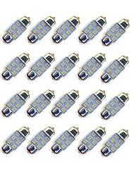 20pcs 31mm 6 * 2835 smd conduziu a iluminação dc12v do bule da ampola do carro