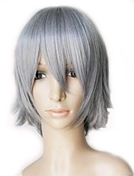 Capless Synthetic High Temperature Fiber Short Straight Gray Mixed Layered Men Cosplay Wig 3 Colors