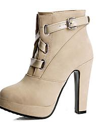 -Для женщин-Для праздника Повседневный-Дерматин-На толстом каблуке-Формальная обувь-Ботинки